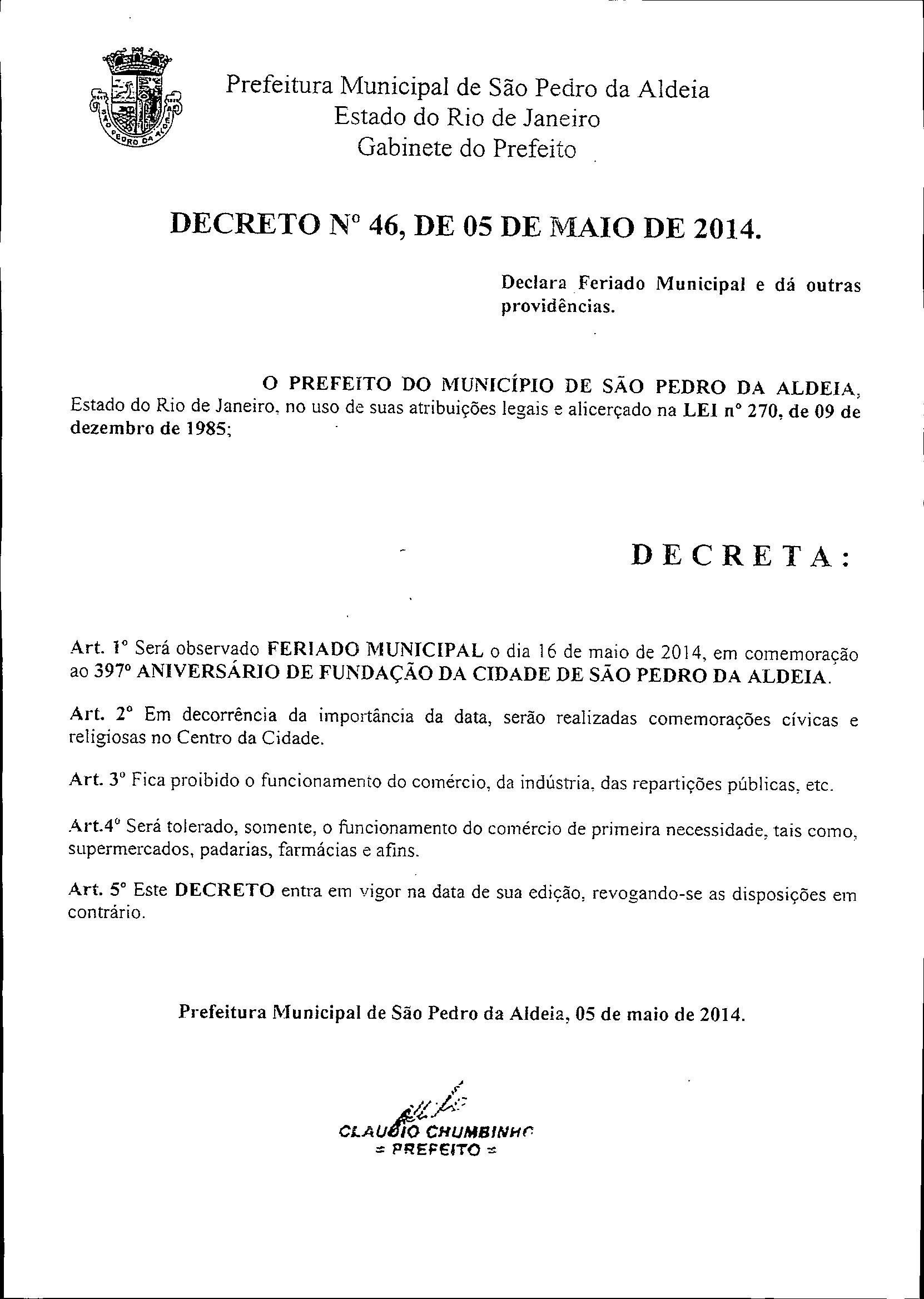 DECRETO 46 2014
