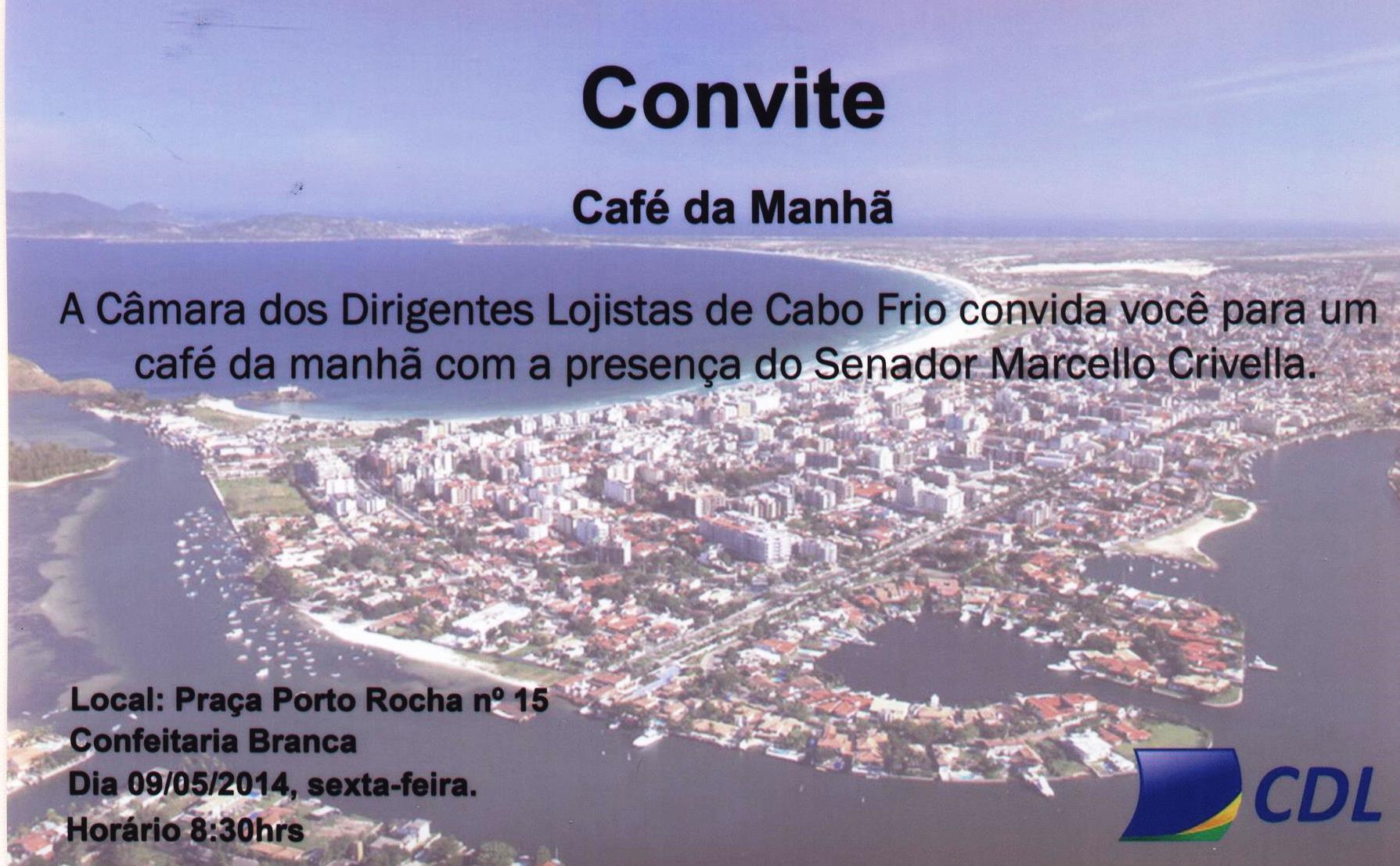 Convite Cafe da Manha Cdl Cabo Frio